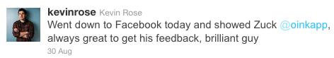 Kevin Rose Tweets Oink.com